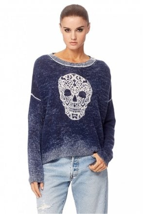 Delara Cashmere Sweater in Navy/Chalk
