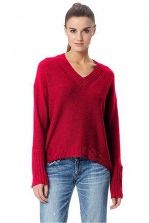 Eliza Cashmere Sweater in Magenta