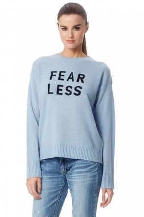 Fear Less Cashmere Sweater in Blue/Black