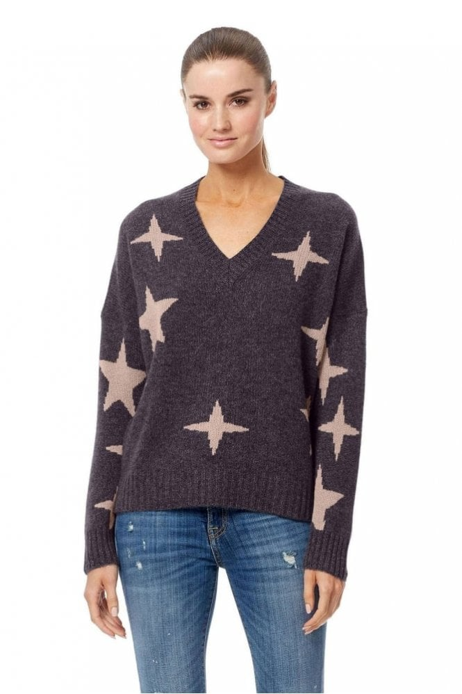 360 Cashmere Liliana Sweater in Cement/Rose Quartz