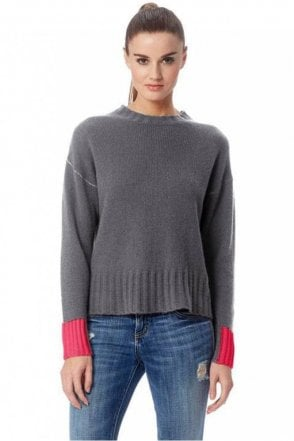 Nika Cashmere Sweater in Heather Grey/Magenta
