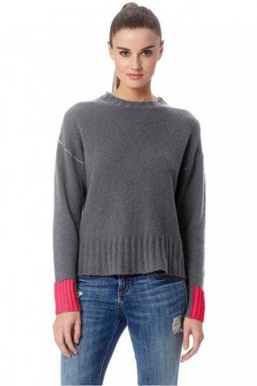 Nika Cashmere Sweater in Heather Grey/Magenta