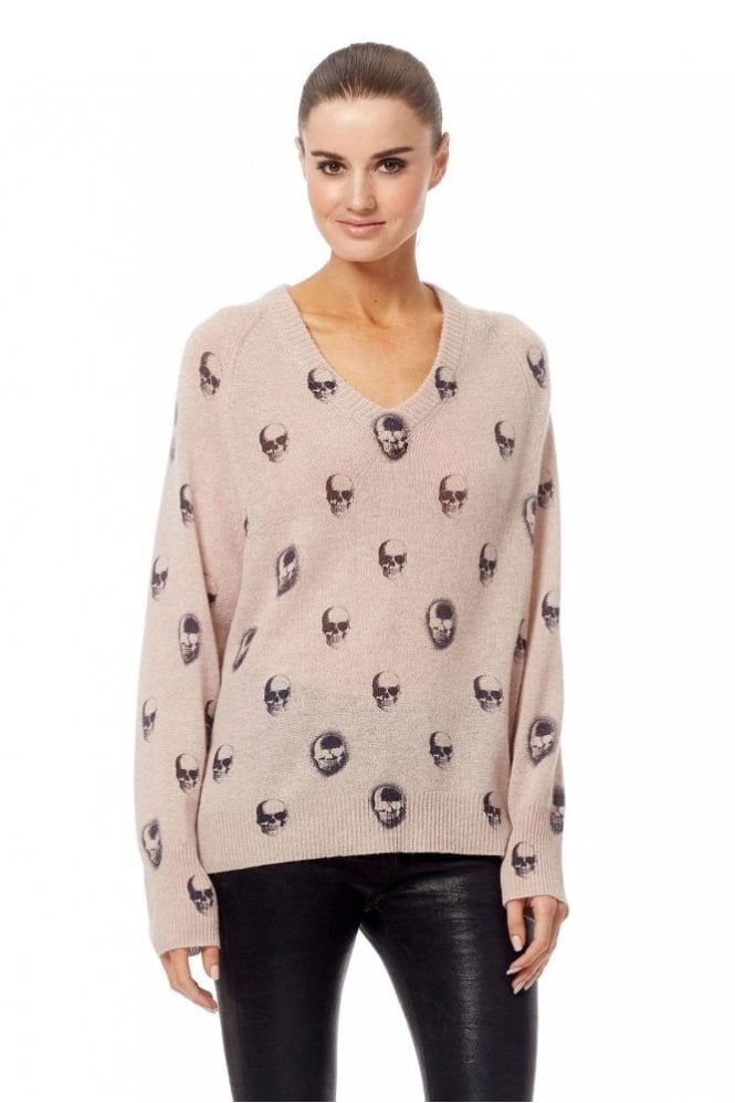 360 Cashmere Riley Sweater in Rose Quartz/Charcoal