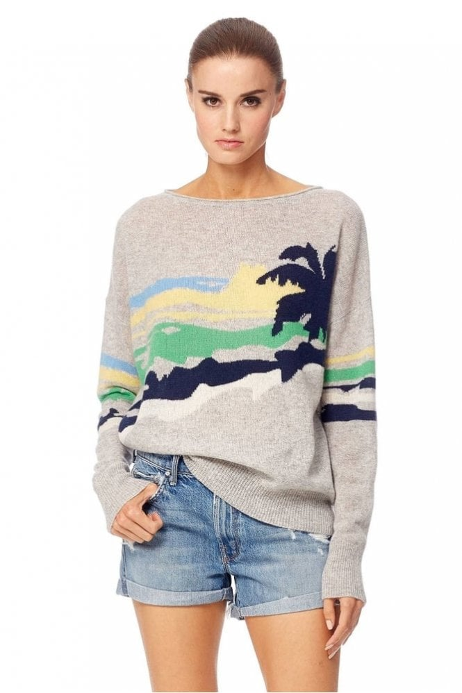 360 Cashmere Sunny Cashmere Sweater in Light Heather Grey/Multi