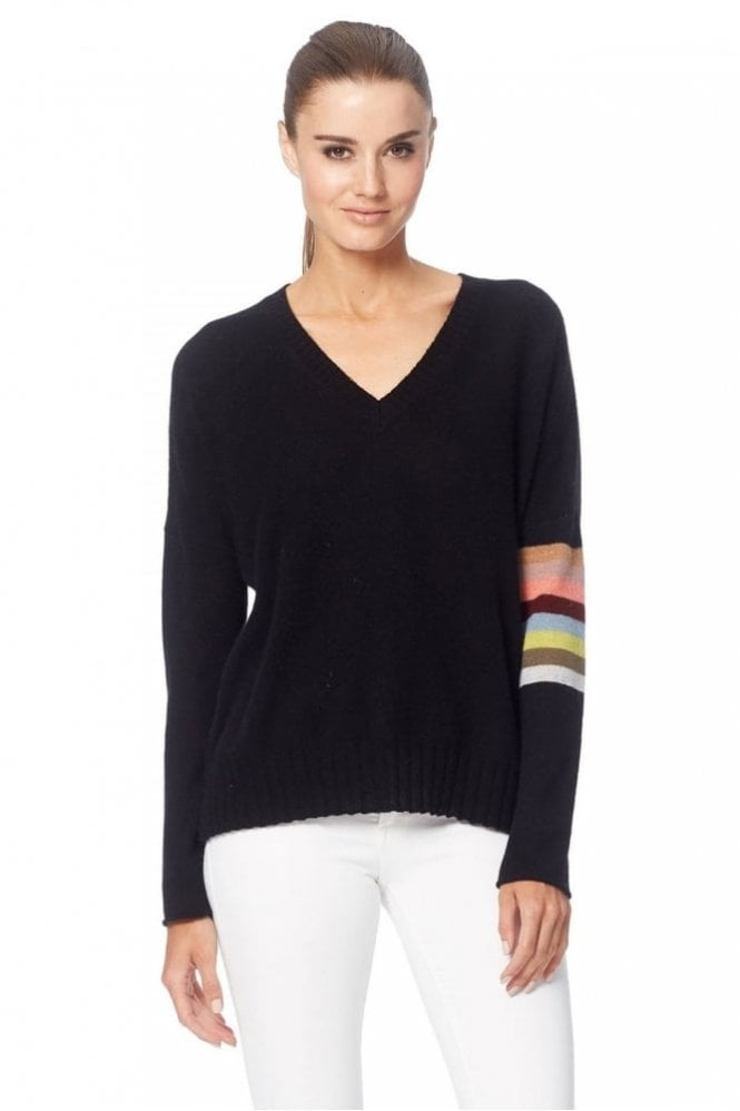360 Cashmere Zuli-Vee Sweater in Black Multi