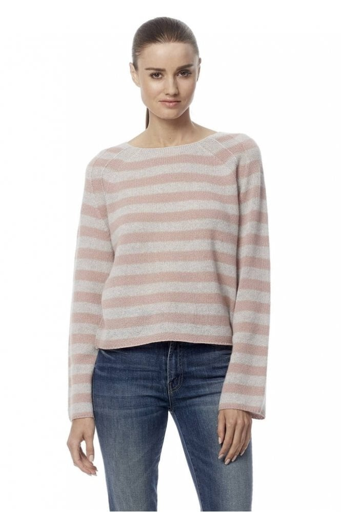 360 Cashmere Nariko Cropped Stripped Cashmere Sweater