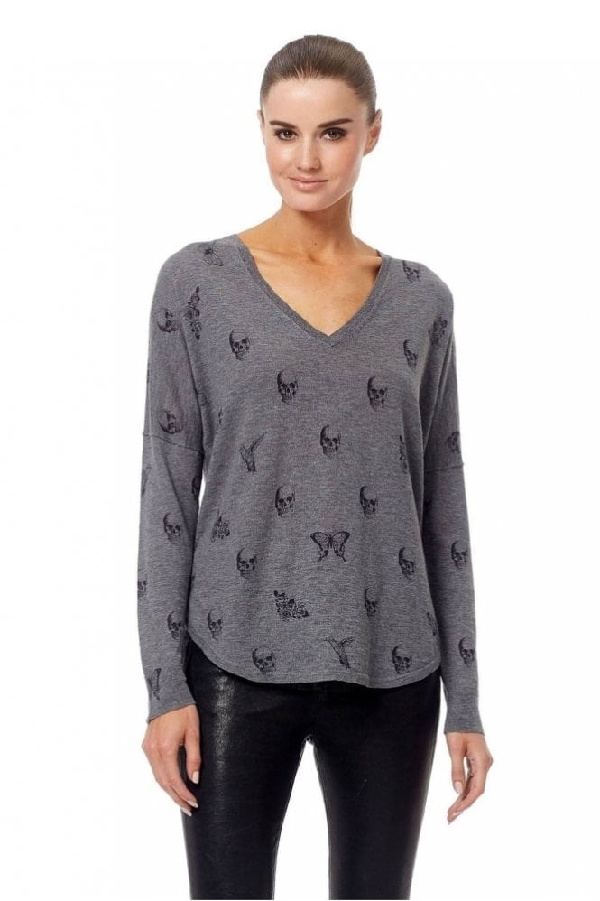 360 Cashmere Zahara Sweater in Mid Heather Grey/Black