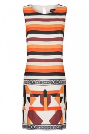 A-Shaped Graphic Dress in Feo