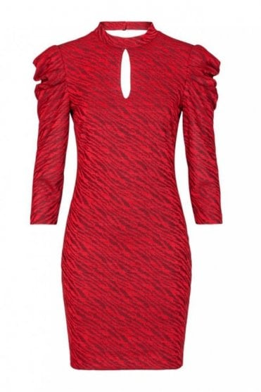 Puff Sleeved Dress in Kimy Red