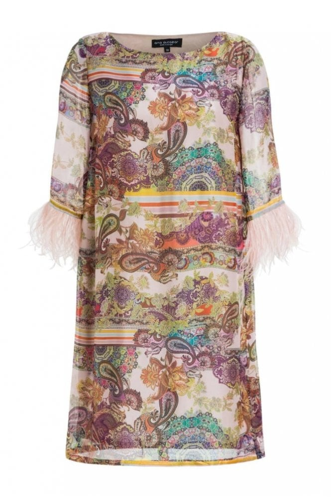 Ana Alcazar Silk Dress with Feathers in Madaley