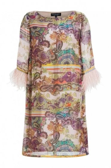 Silk Dress with Feathers in Madaley