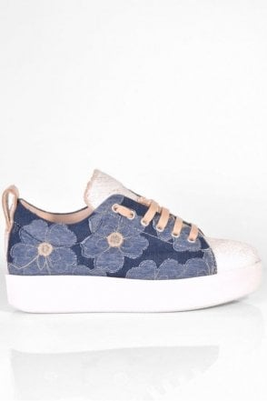 Elen Trainer with Heavy Sole in Denim