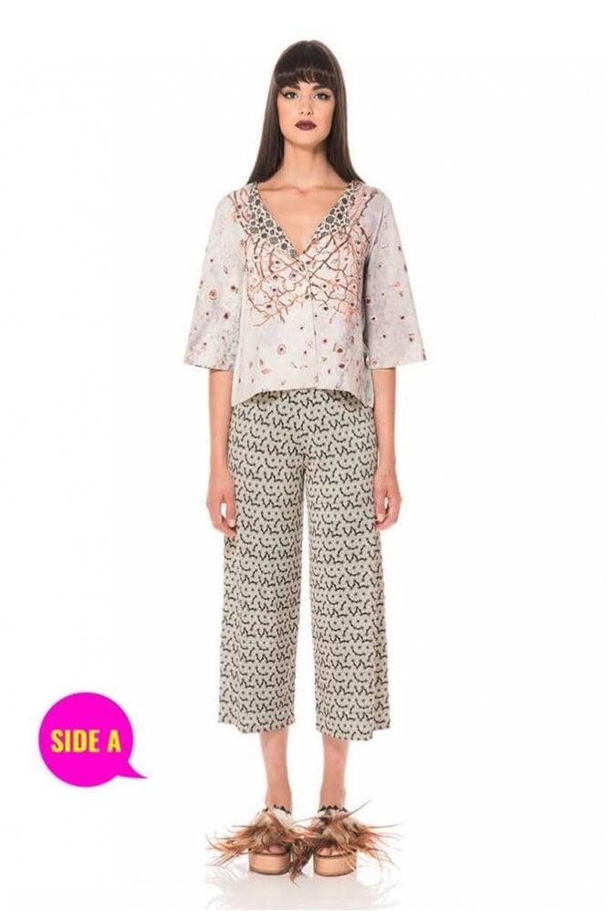 Animapop Floral Print ¾ Length Sleeve Reversible Jacket