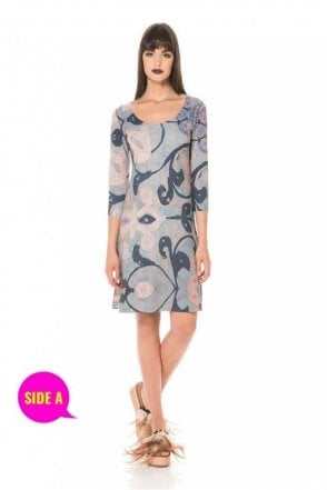 Floral Print ¾ Sleeve Reversible A-line Dress