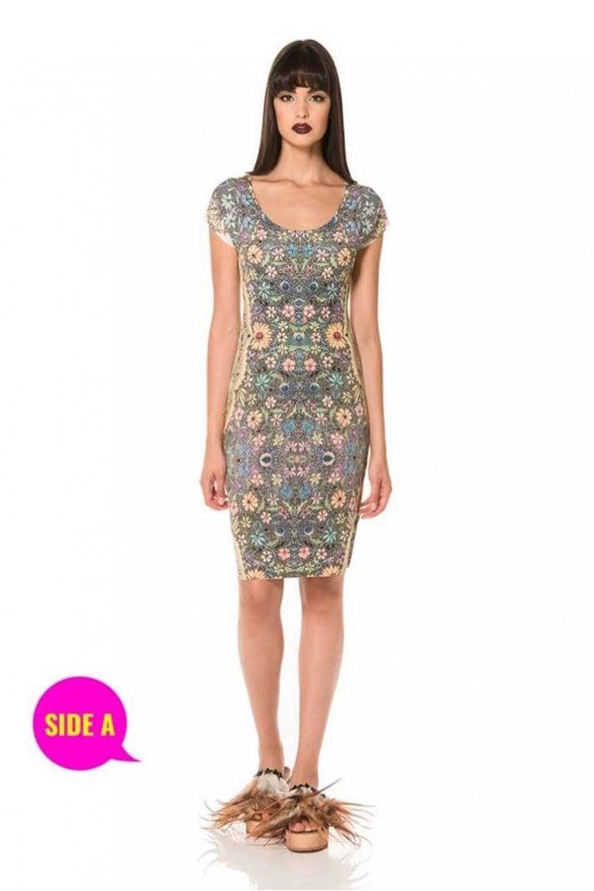 Animapop Geometric Floral Print Check Cap Sleeve Reversible Dress