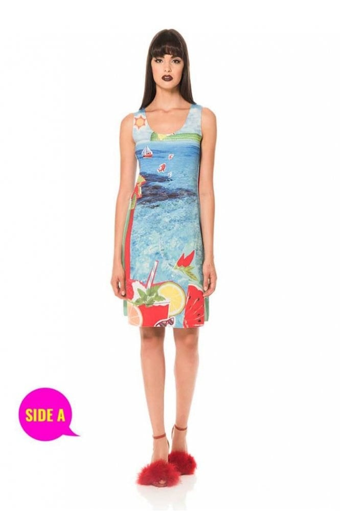 Animapop Seaside Print Reversible Sleeveless A-Line Dress
