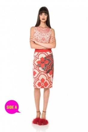 Tile Print Reversible Straight Skirt