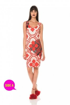 Tile Print Sleeveless Reversible Dress