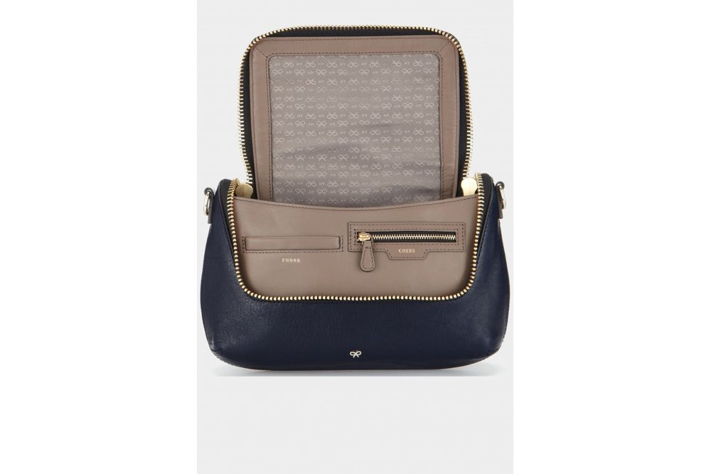 anya hindmarch maxi zip cross body circus leather in navy. Black Bedroom Furniture Sets. Home Design Ideas
