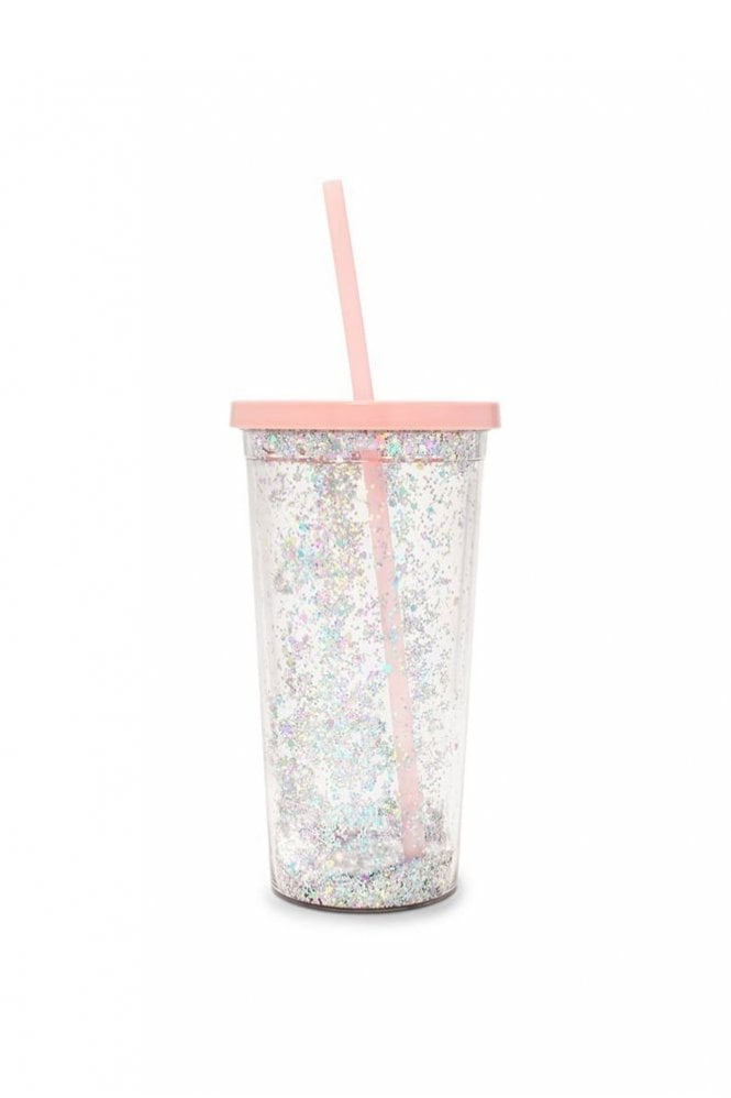 Ban.do Deluxe Sip Sip Tumbler with Straw – Glitter Bomb
