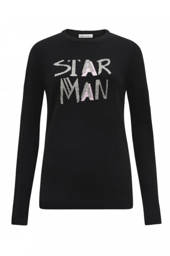 Bella Freud Star Man Jumper in Black
