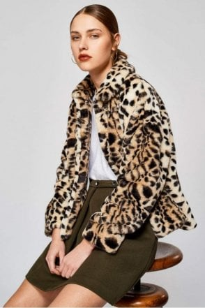 Lonu Faux Fur Leopard Print Jacket