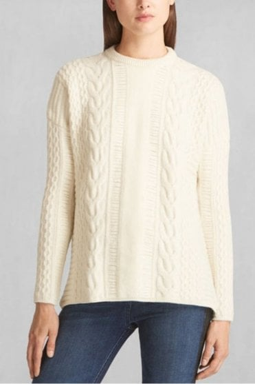 Katriona Crewneck Jumper in Natural and White