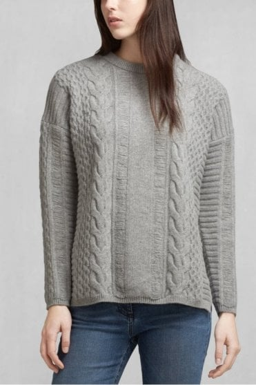 Katriona Crewneck Sweater in Mid Grey
