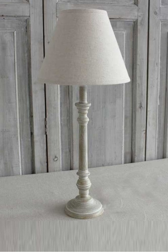 Biggie Best Antique Wood Base and Linen Shade Set