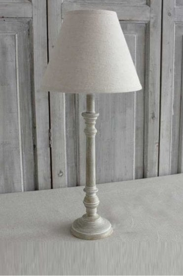 Antique Wood Base and Linen Shade Set