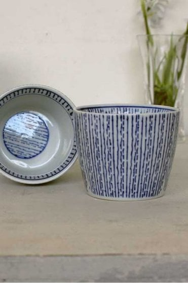 Blue Stripe Dipping Bowl