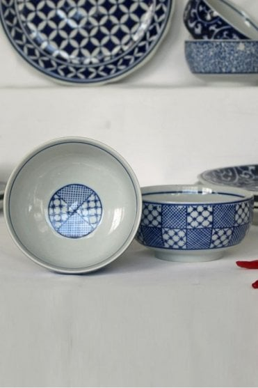 Blue & White Dessert / Soup Bowl with Patchwork Design