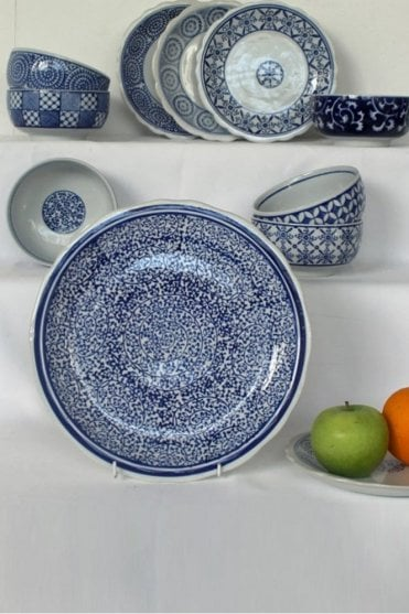Blue & White Dinner Plate with Leaf Design