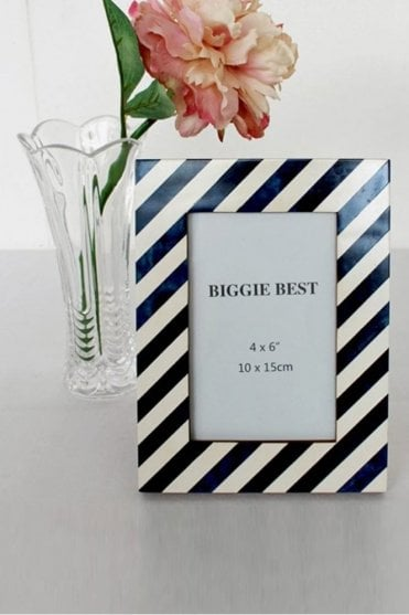 Blue & White Stripe Photo Frame