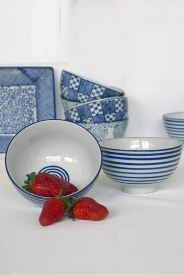 Blue & White Stripe Sauce Bowl