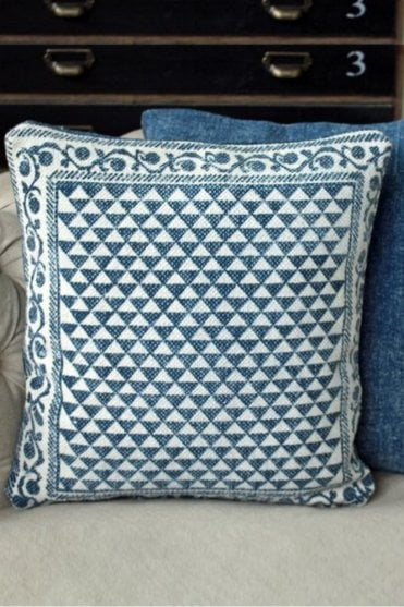 Hindi Indigo Block Print Cushion