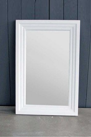 Wooden Antique White Mirror