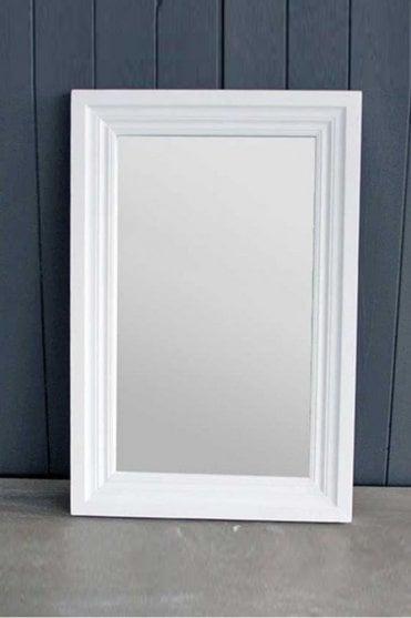 Wooden Antique White Mirror