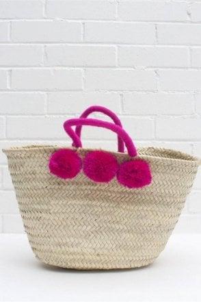 Colour Wrap Pom Pom Basket in Fuchsia
