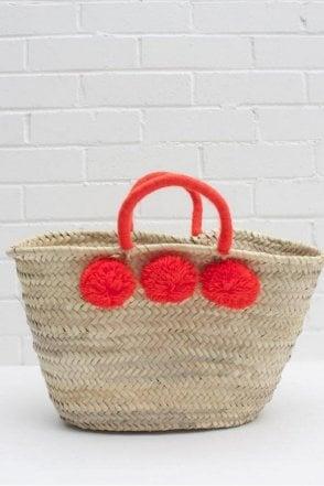 Colour Wrap Pom Pom Basket in Orange