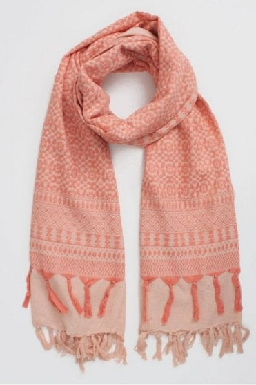 Embroidered Scarf in Desert Rose