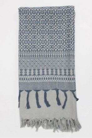 Embroidered Scarf in Pearl Grey