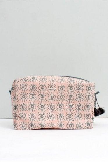 Eye Print Wash bag in Blush Pink