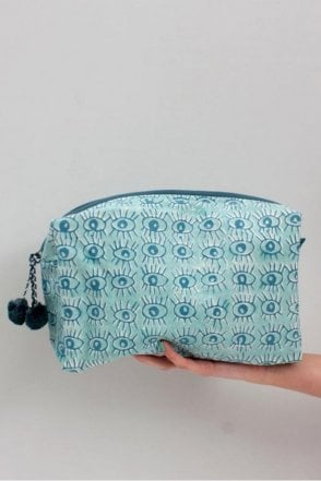 Eye Print Wash bag in Duck Egg Blue