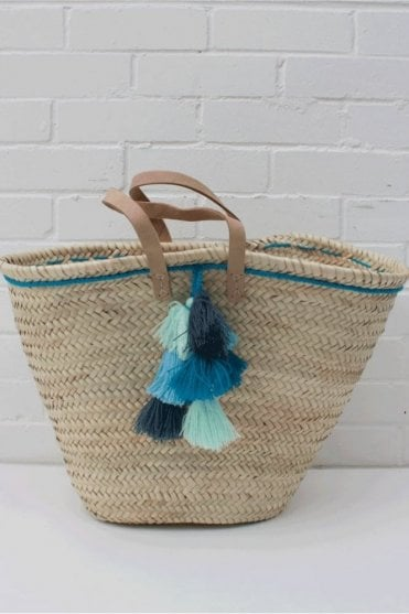Fiesta Tassel Basket in Blue Ombre