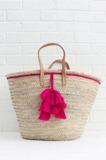 Fiesta Tassel Basket in Fuchsia