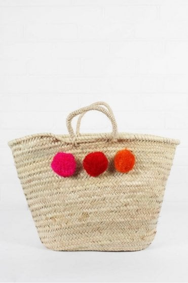 Market Pom Pom Basket in Fuchsia, Red & Orange