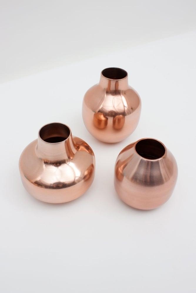 Bohemia Metal Bud Vase Trio In Copper At Sue Parkinson