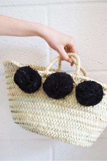 Mini Market Pom Pom Basket in Black