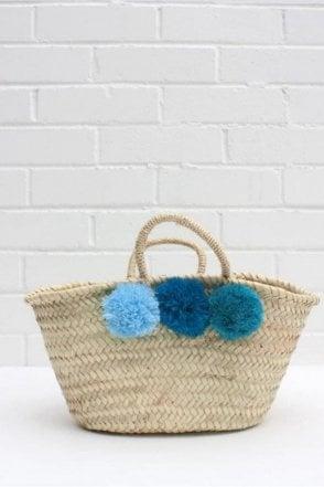 Mini Market Pom Pom Basket in Blue Ombré